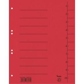 BENE Trennblätter 98300 50 Stück A4 aus Karton mit Aufdruck 1-10 rot