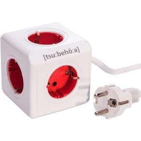 Powercube Steckdosenwürfel mit 5 Ausgängen rot