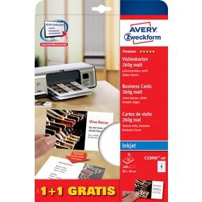 AVERY ZWECKFORM Visitenkarten 160 Karten Matt Weiss