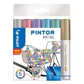 PILOT Kreativmarker Pintor Metallic 6 Stück M farbig sortiert