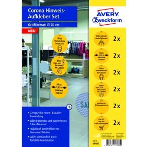 AVERY Zweckform Hinweisetiketten 49400 12 Stück für den Handel Ø 20 cm gelb/schwarz