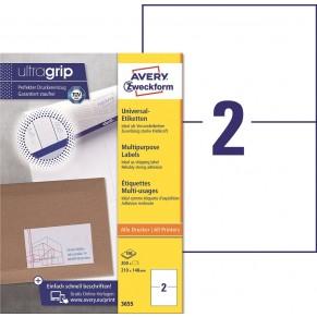AVERY ZWECKFORM Universaletiketten ultragrip 3655 200 Stück 210 x 148 mm weiß