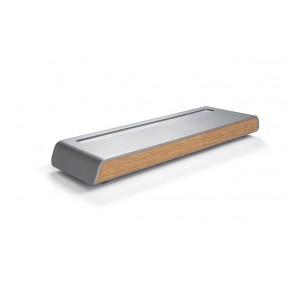 SIGEL Stifteschale Smartstyle SA401 mit Deckel in Metallic-Holz-Optik 240 x 75 x 22,5 mm silber/braun