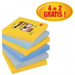 POST-IT Haftnotizen Super Sticky 654-6SS-NY 6 Blöcke à 90 Blatt 76 x 76 mm verschiedene Farben