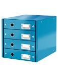 LEITZ Click & Store Schuladenbox 4 Laden blau mettalic