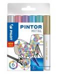 PILOT Kreativmarker Pintor Metallic 6 Stück F farbig sortiert