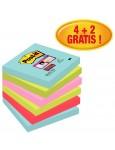 POST-IT® Haftnotizen Super Sticky 6546SMI 6 Blöcke à 90 Blatt 76 x 76 mm farbig sortiert