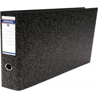 DONAU Ordner 3820001 A5 quer 7,5 cm Hartpappe grau marmoriert