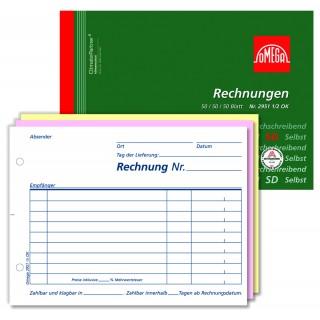 OMEGA Rechnungsbuch 2951 1/2 A6 quer 3 x 50 Blatt