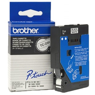 BROTHER P-Touch TC-291 9 mm weiß/schwarz