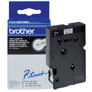 BROTHER P-Touch TC-201 12 mm weiß/schwarz
