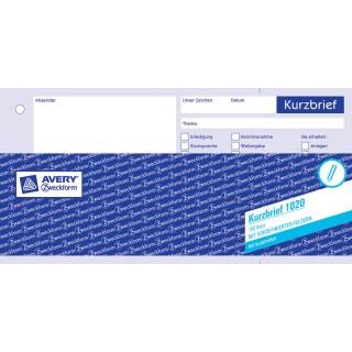 AVERY ZWECKFORM Kurzbrief 1020 100 Blatt weiß
