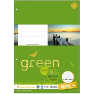 URSUS GREEN Ringbuchblock A4 100 Blatt 70 g/m² kariert