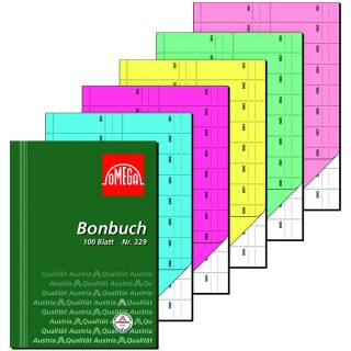 OMEGA Bonbuch 329 A4 2 x  50 Blatt 1000 Abrisse grün