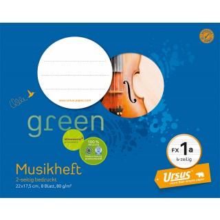 URSUS GREEN Musikheft FX 1a 22 x 17,5 cm 8 Blatt