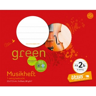 URSUS GREEN Musikheft FX 2b 22 x 17,5 cm 16 Blatt