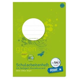 URSUS GREEN Schularbeitsheft FX SA.1 A4 20 Blatt liniert mit Korrekturrand