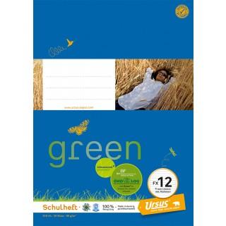 URSUS GREEN Heft FX 12 A4 20 Blatt liniert mit Rahmen blau