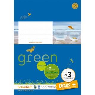 URSUS GREEN Heft FX 3 A5 20 Blatt kariert blau