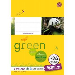 URSUS GREEN Heft FX 24 A5 40 Blatt kariert mit Rahmen gelb