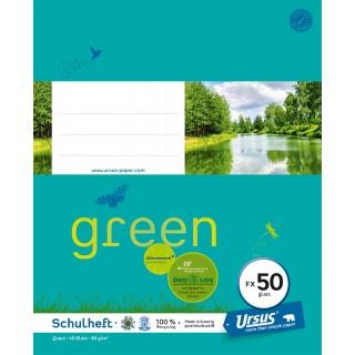 URSUS GREEN Heft FX 50 Quart 40 Blatt glatt türkisblau