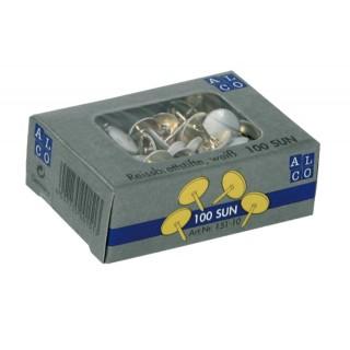 ALCO Reißnägel 100 Stück 9,5 mm weiß
