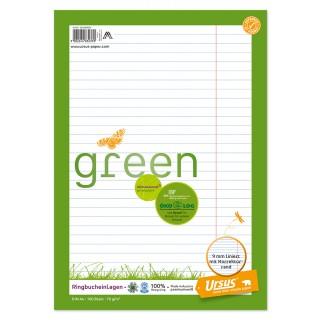 URSUS GREEN Ringbucheinlagen A4 100 Blatt liniert mit Korrekturrand