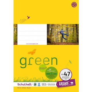 URSUS GREEN Heft FX 47 A4 40 Blatt kariert mit Korrekturrand gelb