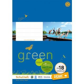 URSUS GREEN Heft FX 18 A4 20 Blatt kariert mit Korrekturrand blau