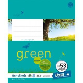 URSUS GREEN Heft FX 53 Quart 40 Blatt liniert mit Korrekturrand türkisblau