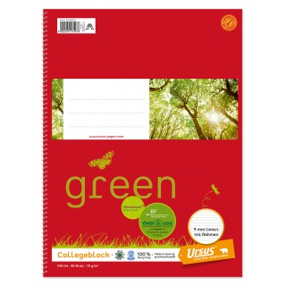 URSUS GREEN Collegeblock A4 80 Blatt 70 g/m² liniert