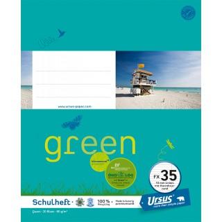 URSUS GREEN Heft FX 35 Quart 20 Blatt liniert mit Korrekturrand türkisblau
