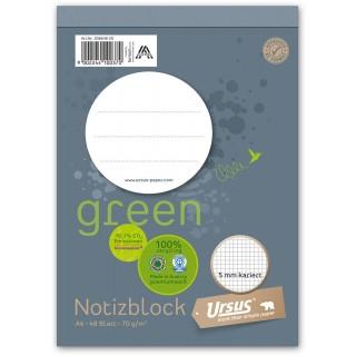URSUS GREEN Notizblock A6 48 Blatt 70 g/m² kariert