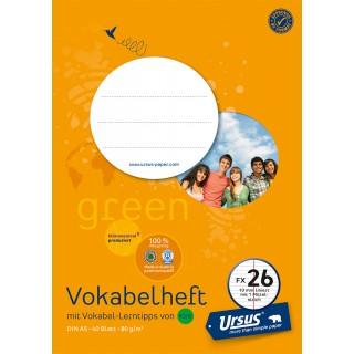 URSUS GREEN Vokabelheft FX 26 A5 40 Blatt liniert mit Mittelstrich orange