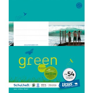 URSUS GREEN Heft FX 54 Quart 40 Blatt kariert mit Rahmen türkisblau