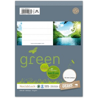 URSUS GREEN Block A5 liniert 10mm 70g/m² 48 Blatt