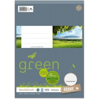 URSUS GREEN Notizblock A4 48 Blatt 70 g/m² kariert