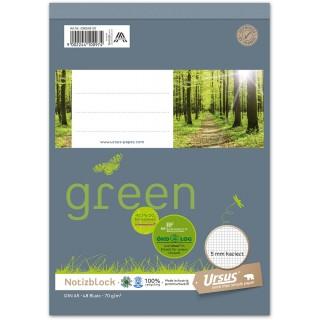 URSUS GREEN Notizblock A5 48 Blatt 70 g/m² kariert
