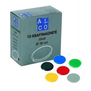 ALCO Haftmagnete 6848 10 Stück Ø 38 mm farbig sortiert