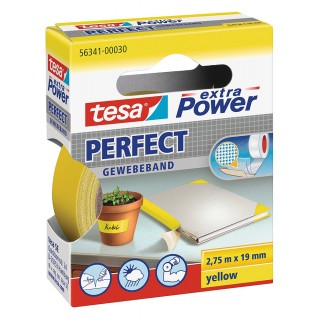 TESA extra Power Perfect Gewebeband 19 mm x 2,75 m gelb
