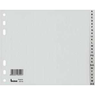 BENE Register 93220 A4 halbe Höhe 20-teilig A-Z aus Kunststoff grau