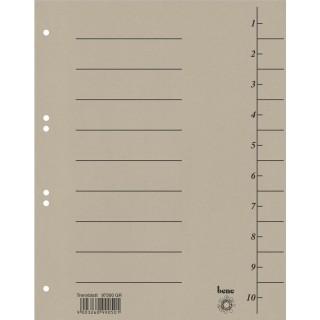 BENE Trennblätter 97300 100 Stück A4 aus Recyclingkarton grau