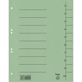 BENE Trennblätter 97300 100 Stück A4 aus Recyclingkarton grün