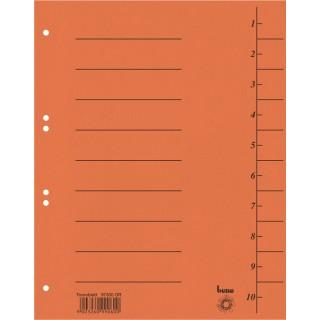 BENE Trennblätter 97300 100 Stück A4 aus Recyclingkarton orange