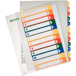 LEITZ Farbregister 1294 A4 1-12 aus Kunststoff bunt