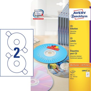 AVERY ZWECKFORM CD-Etiketten L6043 50 Stück Ø 117 mm Classic Size weiß