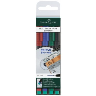FABER CASTELL Folienstift Multimark 0,6 mm permanent 4er Etui