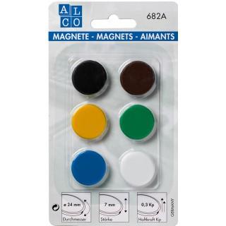 ALCO Magnete 682A 6 Stück ø 2,4 cm mehrere Farben
