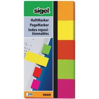 SIGEL Index 5 Stück 5 x 40 Blatt gelb, orange, rot, pink, grün