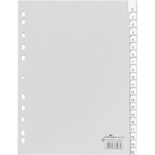 DURABLE Register 6443 A4 20-teilig 1-20 aus Kunststoff grau